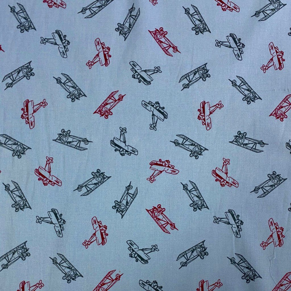 Retro Planes Cotton Poplin Fabric