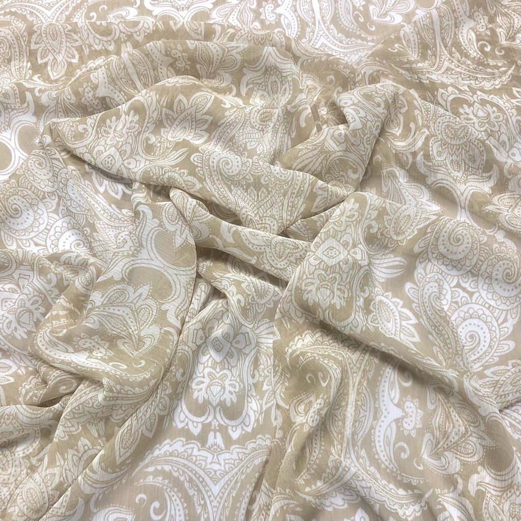 Paisley Damask on Dull Beige Chiffon Fabric