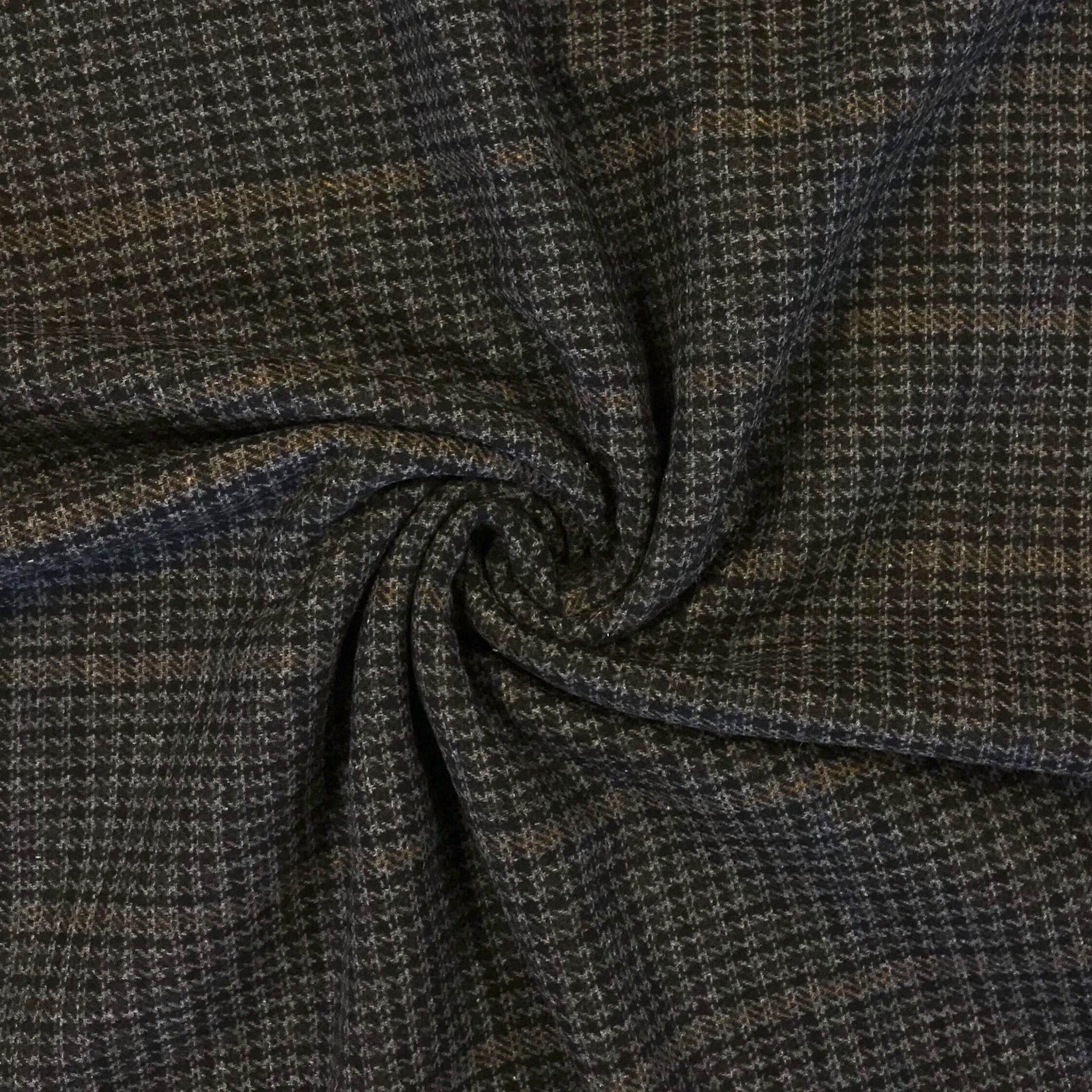 Grey Checkered Wool Blend Fabric