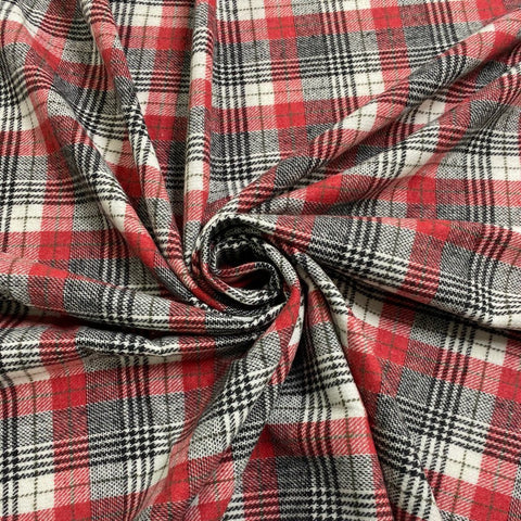 Grey and Red Tartan Wool Touch Fabric