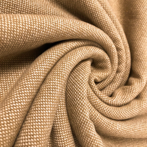 Warm Beige Wool Blend Fabric