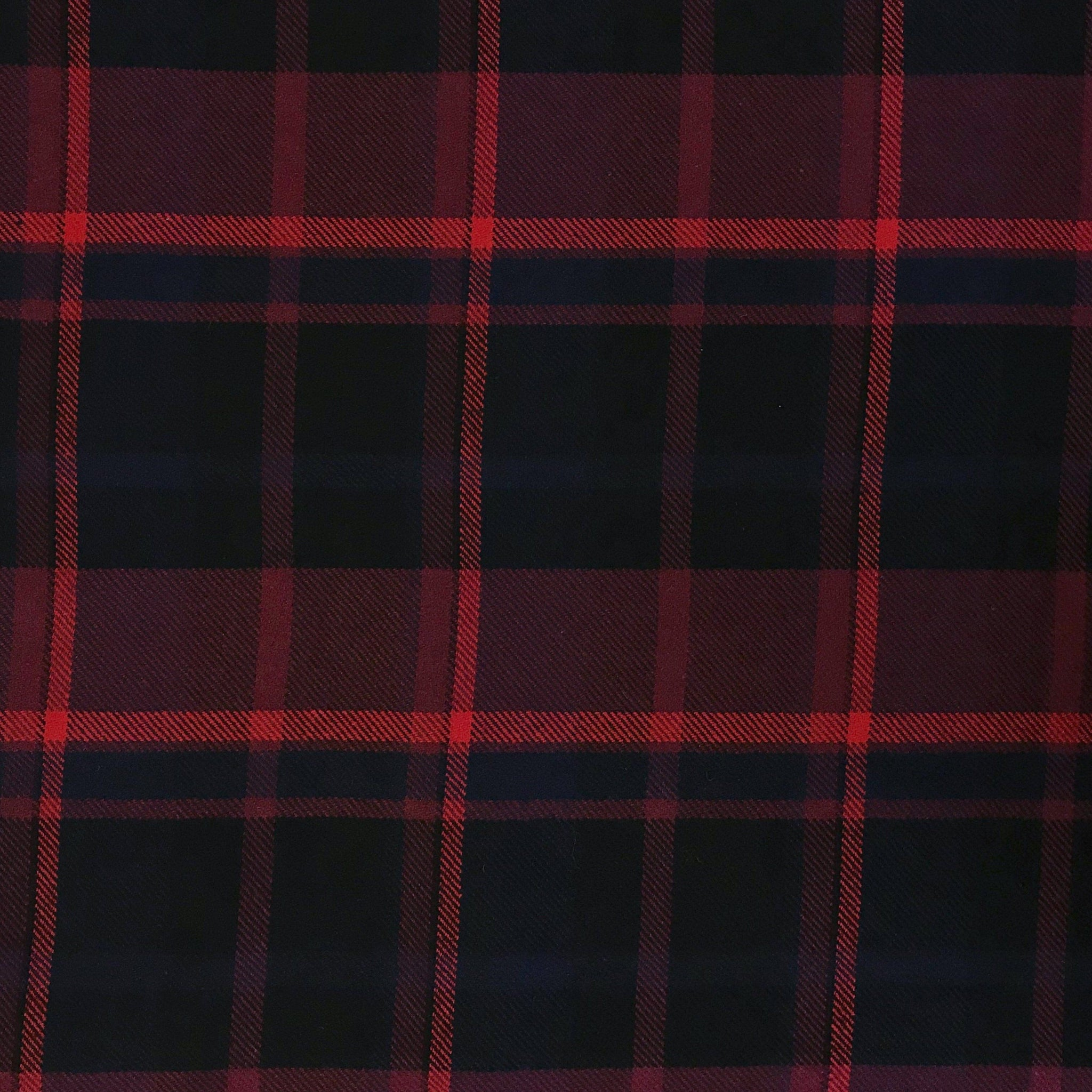 Blue/Red Check Wool Blend Fabric