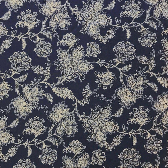 Navy Floral Brushed ITY Jersey Fabric - Pound Fabrics