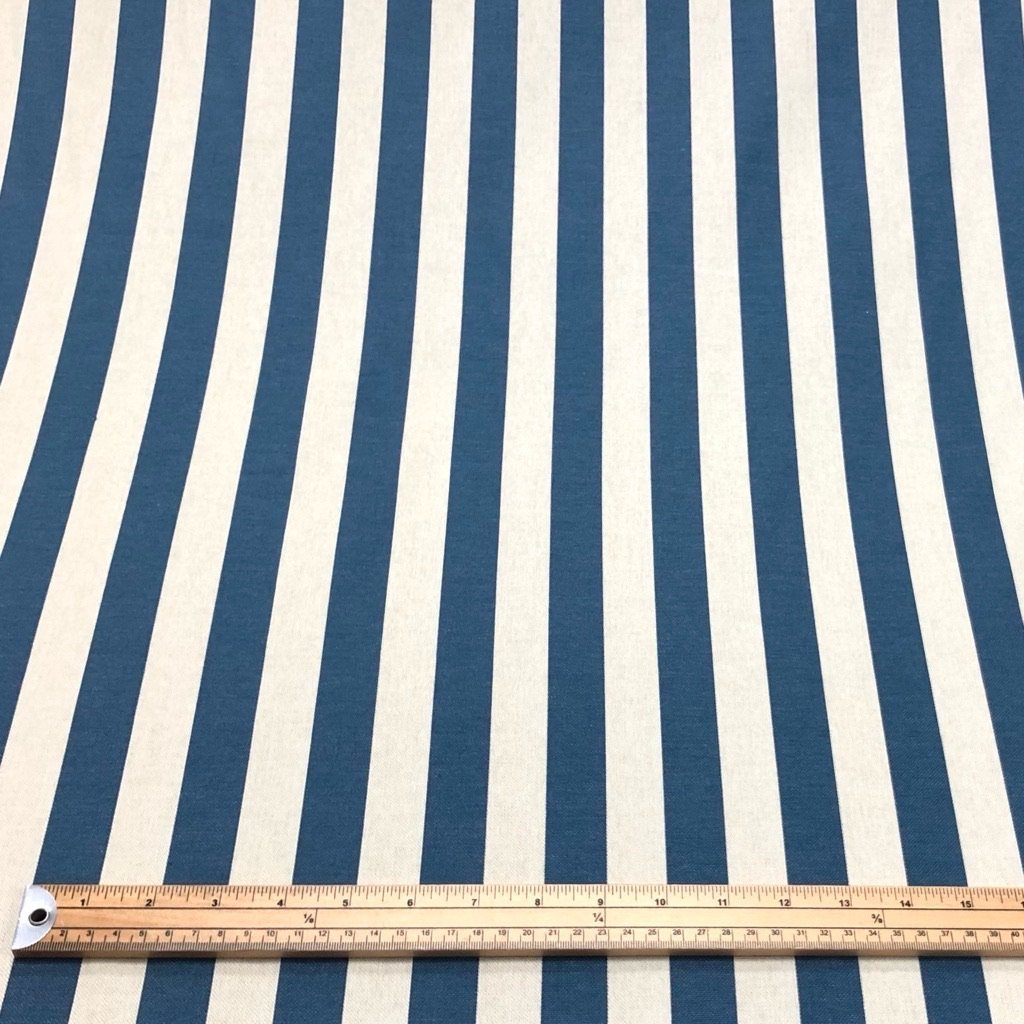 Greyish Blue Striped Cotton Canvas Fabric