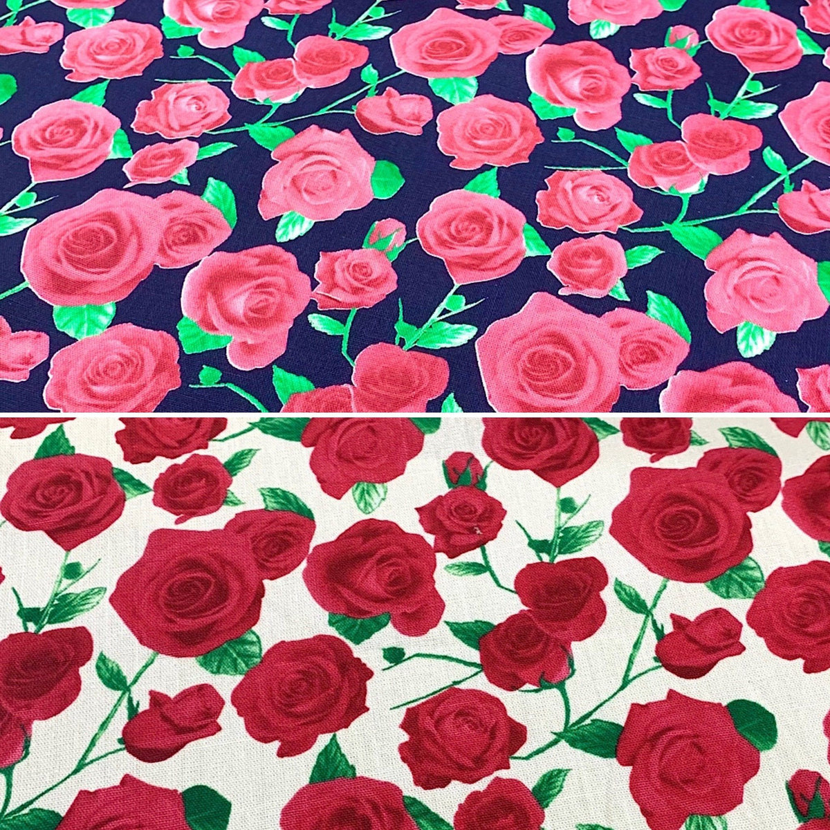 Anne's Roses Cotton Canvas Fabric