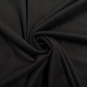 Plain Black Wool Blend Fabric