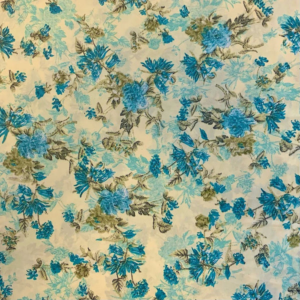 Lily Wildflower Polyester Fabric - 3 metres for £3