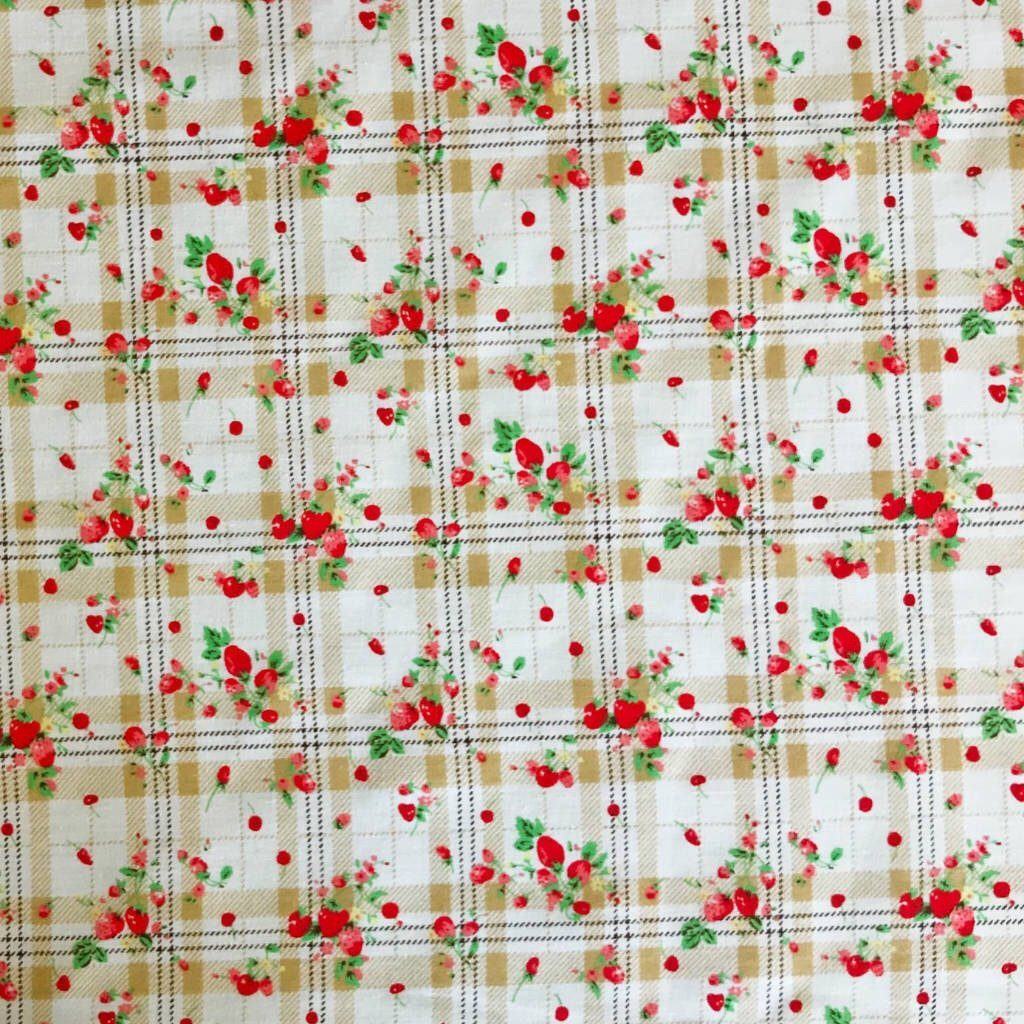 Strawberry Checkered Polycotton Fabric - Pound Fabrics