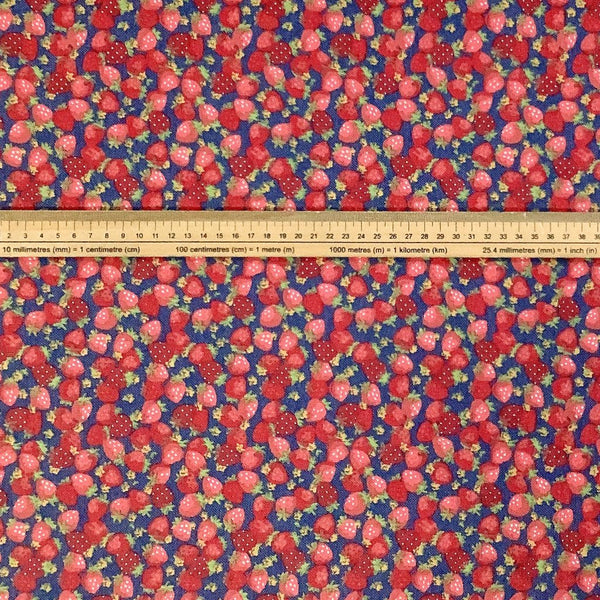 Red/Blue Strawberries Cotton Canvas Fabric