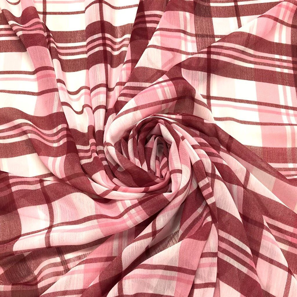 Pink Shades Checkered Chiffon Fabric - 3 metres for £3