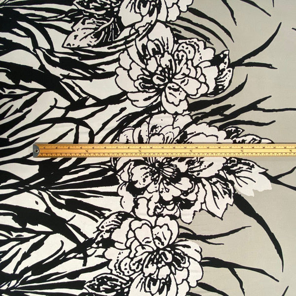 Grey Double Floral Border Stretch Fabric