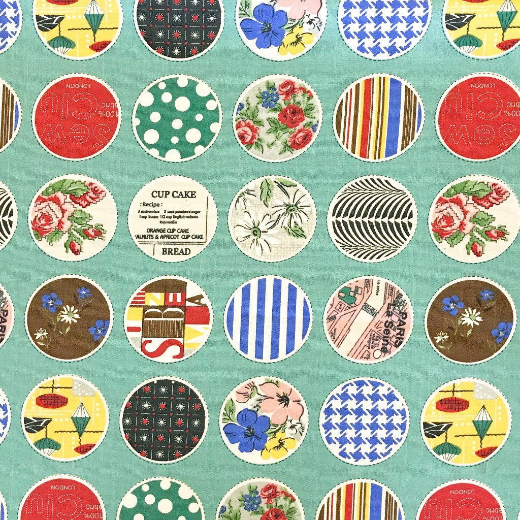 Pictures Circle Collage Cotton Canvas Fabric