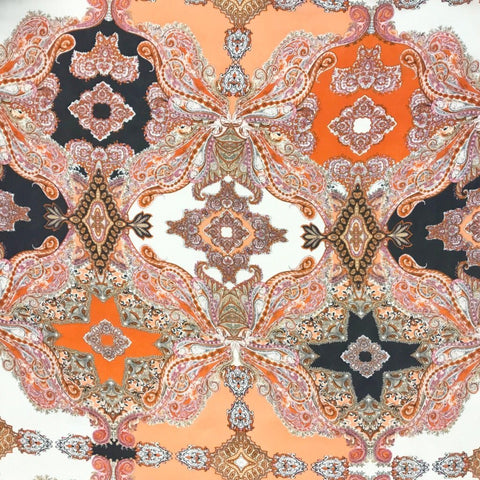 Orange Paisley Design Chiffon Fabric - Pound Fabrics