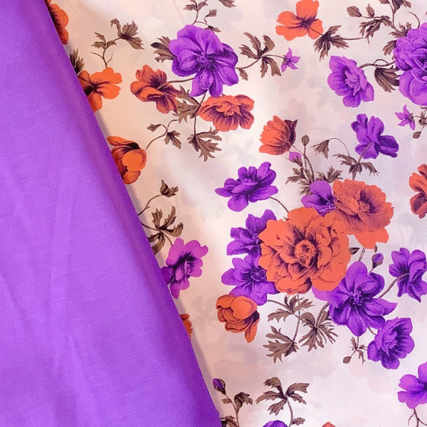 Purple Blossoms Soft Polyester - Print & Plain (2m each)