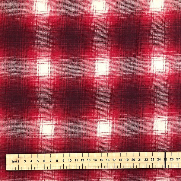 Red Checkered Brushed Cotton Fabric