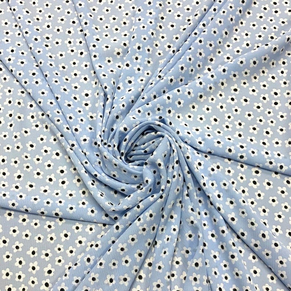 Blue Mini Daisy Chiffon Fabric - 3 metres for £4.50