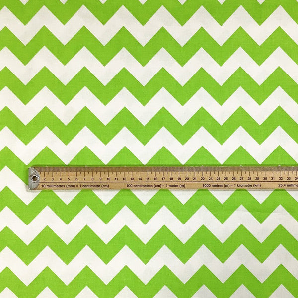 Lime Zig Zag Cotton Fabric