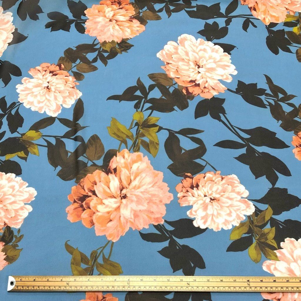 Large Peach Dahlia on Blue Chiffon Fabric