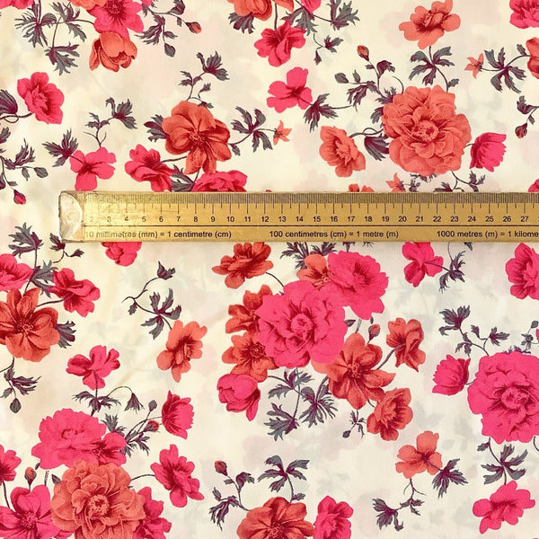 Pink Blossoms Soft Polyester - Print & Plain (2m each)