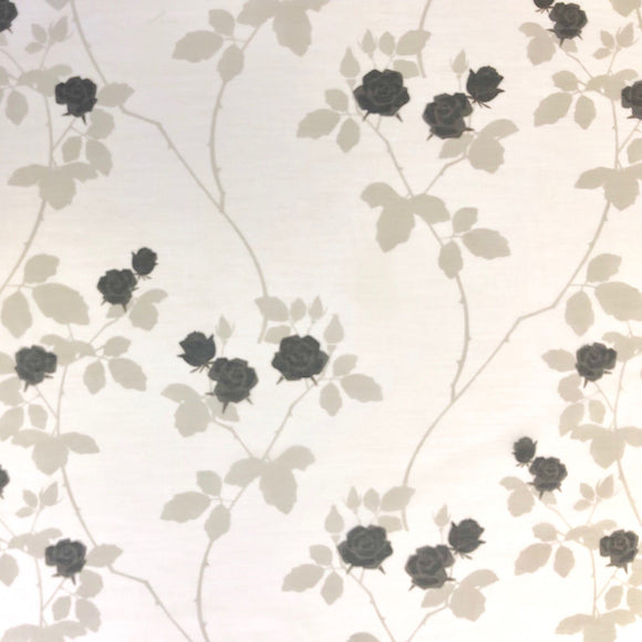 Black and White Delicate Rose Fabric - Pound Fabrics