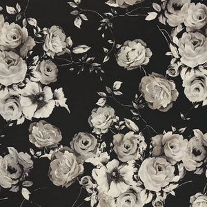Grey Flower Bunch Polyester Fabric