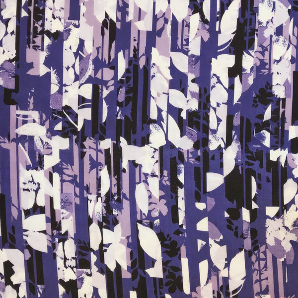 Purple Abstract Petals Chiffon Fabric