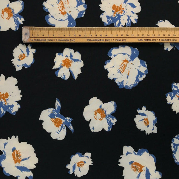 Black/Blue Floret Polyester Fabric