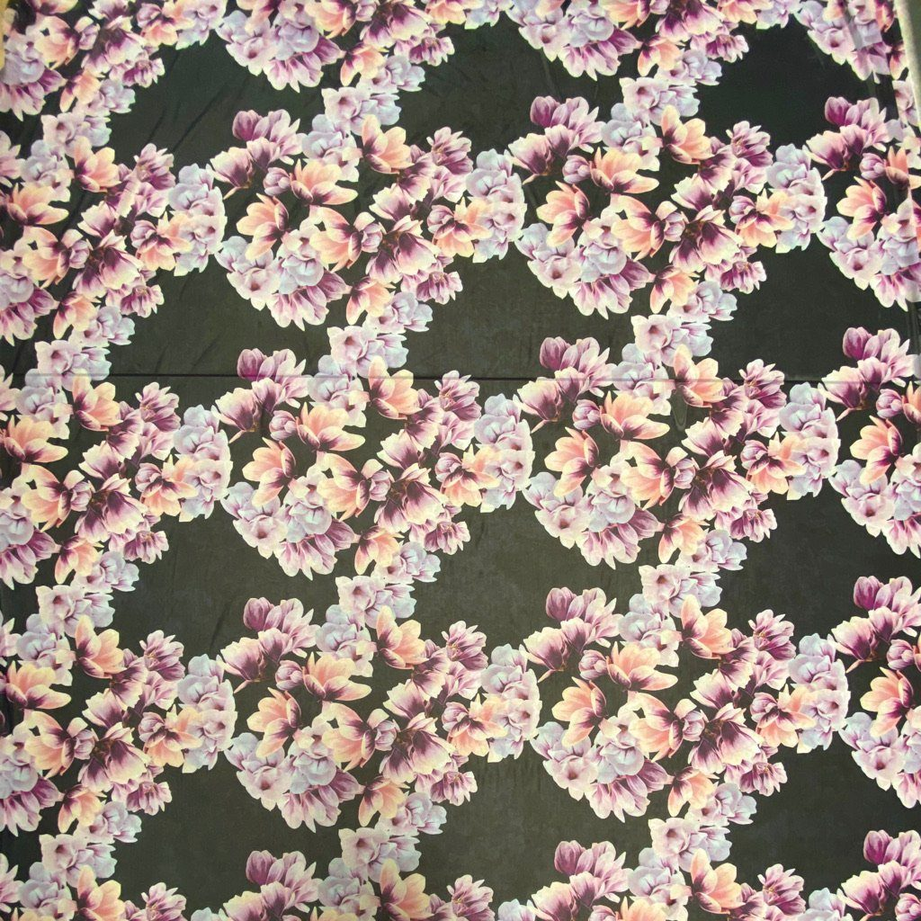 Purple Floral Power Mesh Fabric