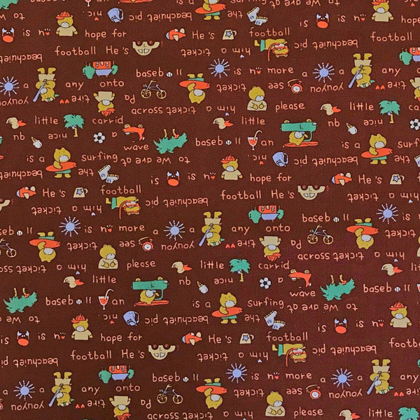 Teddy On Vacation Cotton Fabric