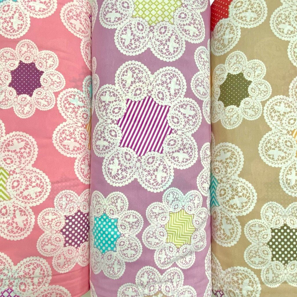 "Octagon Flower 90"" Polycotton Sheeting Fabric"