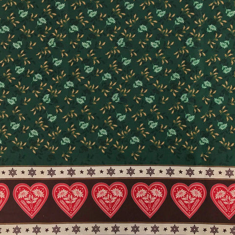 Green Christmas Flower Hearts Cotton Fabric