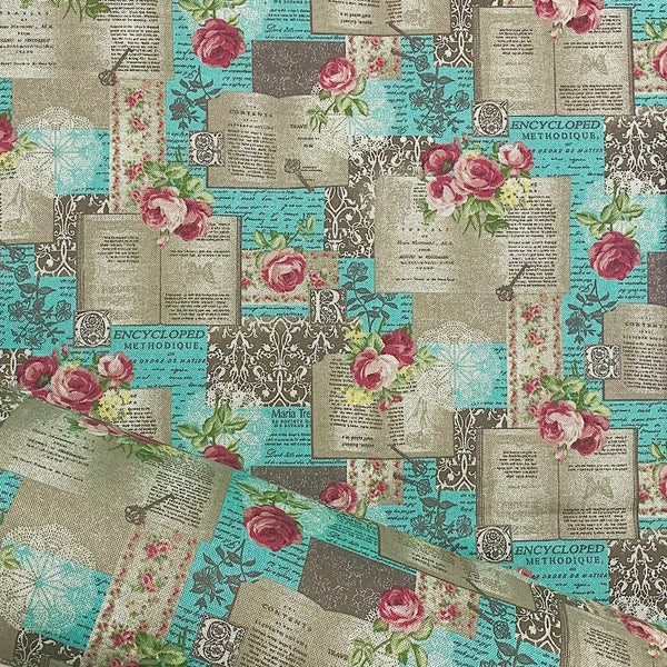 Enchanted Books and Rose Cotton Canvas Fabric