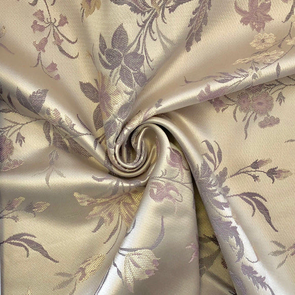 Lavender Silver Floral Fabric - Pound Fabrics