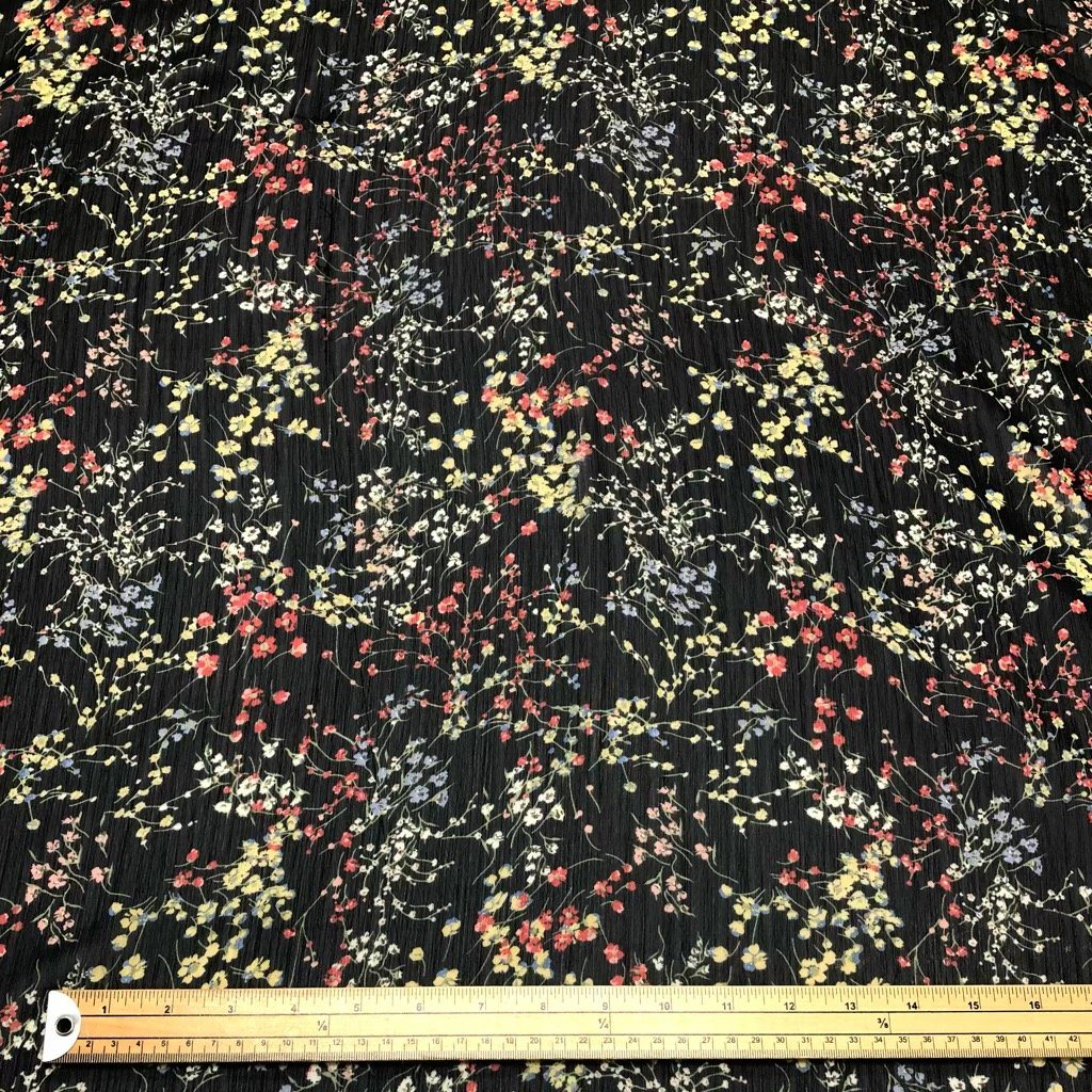 Multicolour Floral on Black Crinkle Chiffon Fabric