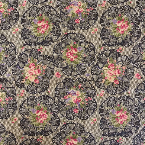 Black/Pink Rose Bunch Cotton Fabric