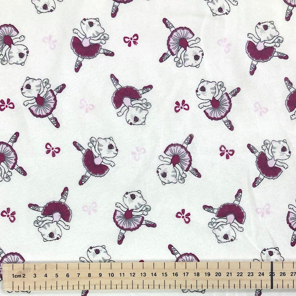Ballet Cats Brushed Cotton Fabric
