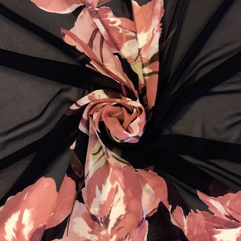 Large Pink Flowers Chiffon Fabric - Pound Fabrics