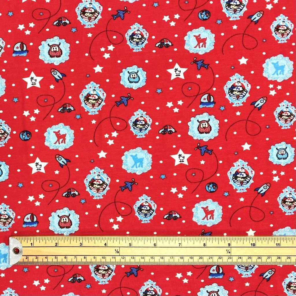 Around the World Red Cotton Jersey Fabric