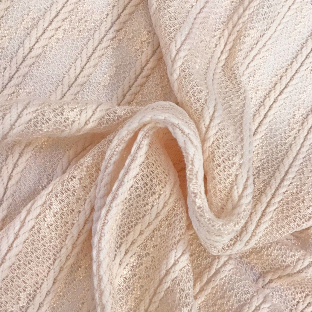 Nude Light Weight Cable Knit Fabric - Pound Fabrics