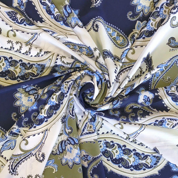 Blue Paisley Print Georgette Fabric