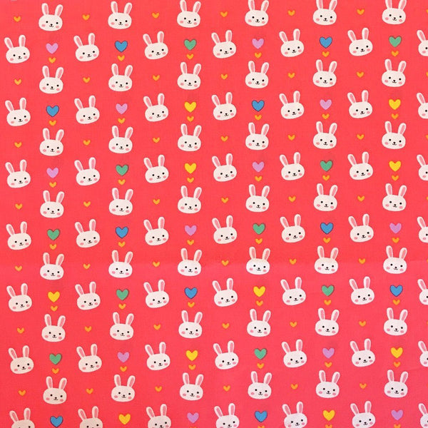 Smiley Bunnies and Hearts Cotton Fabric