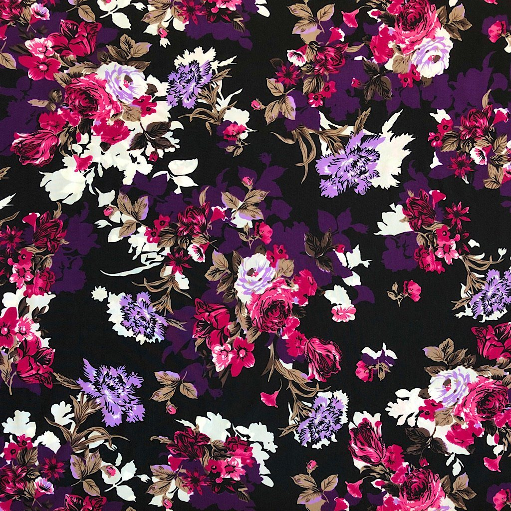 Pink/Purple Floral Soft Polyester - Print & Plain (2m each)