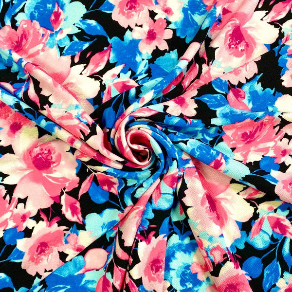 Blue and Pink Floral Liverpool Stretch Fabric
