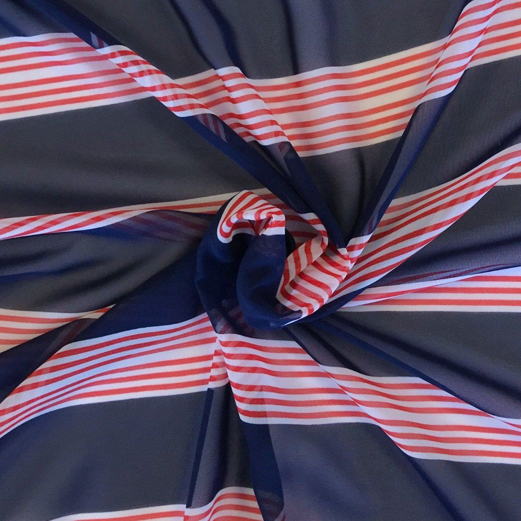 Navy and Red Stripe Chiffon Fabric