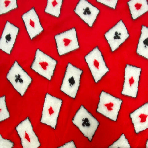 Red Cards Faux Fur Fabric
