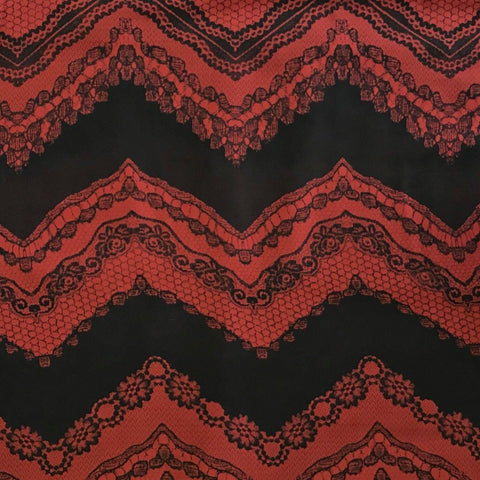 Red and Black Zig Zag Paisley Chiffon Fabric