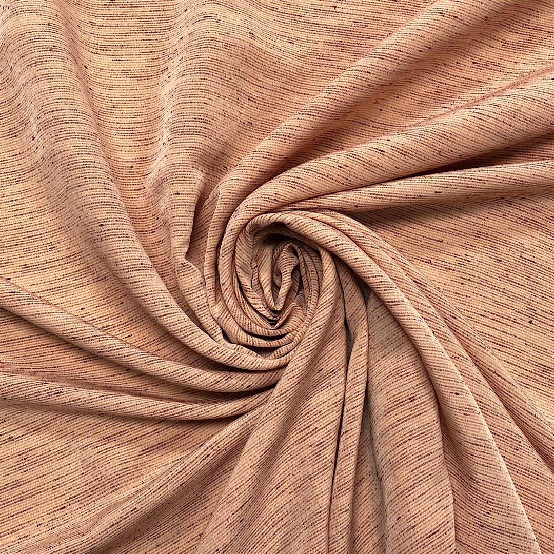 Pale Peach Scattered Lines Polyester Fabric