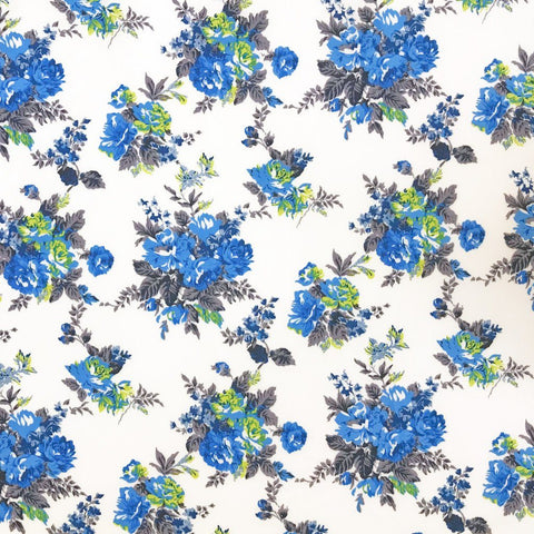 Elliptical Blue Flowers Soft Touch Polyester Fabric