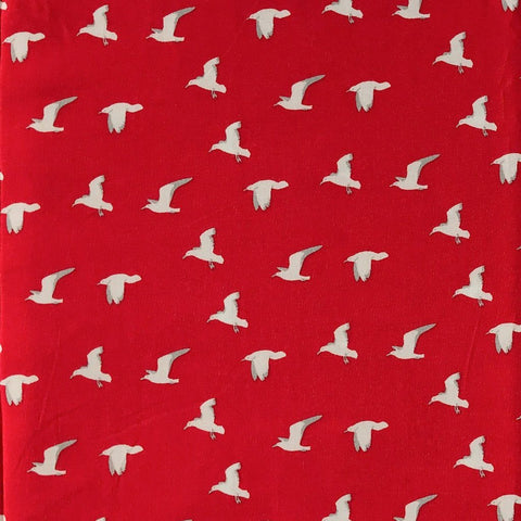Red Birds Viscose Fabric