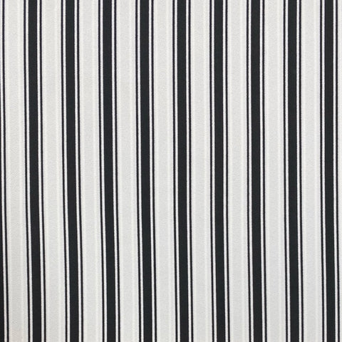 Triple Black and White Stripe Polyester Fabric